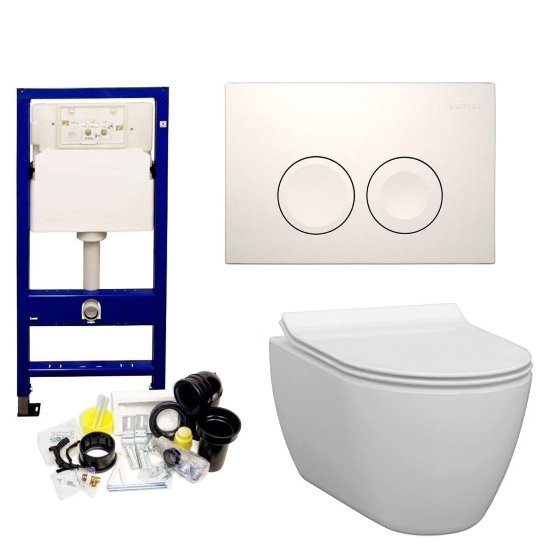 Productafbeelding van Geberit UP100 Toiletset set33 Idevit Alfa Randloos Keramiek Diepspoel 36x52x30cm met Delta drukplaat