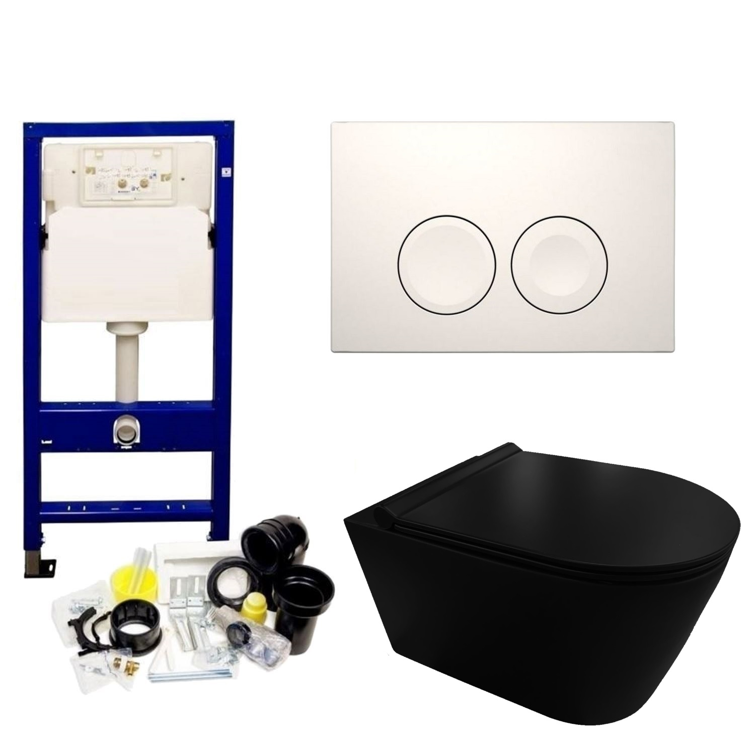 Geberit UP100 Toiletset set44 Civita Black Randloos Mat Zwart Met Delta drukplaat Toilet Toiletset