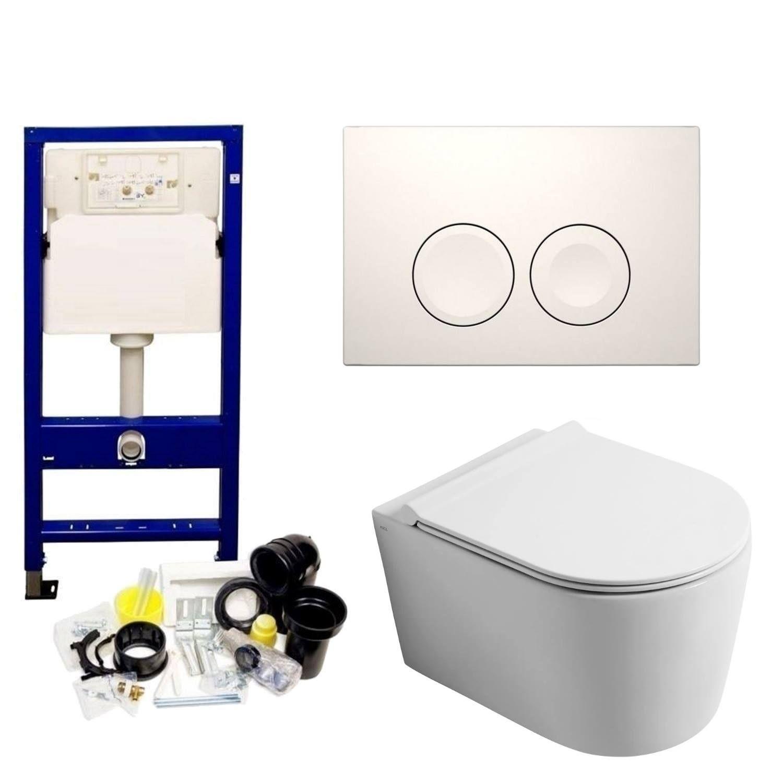 Geberit UP100 Toiletset set50 Civita Randloos Glans Wit Met Delta drukplaat Toilet Toiletset