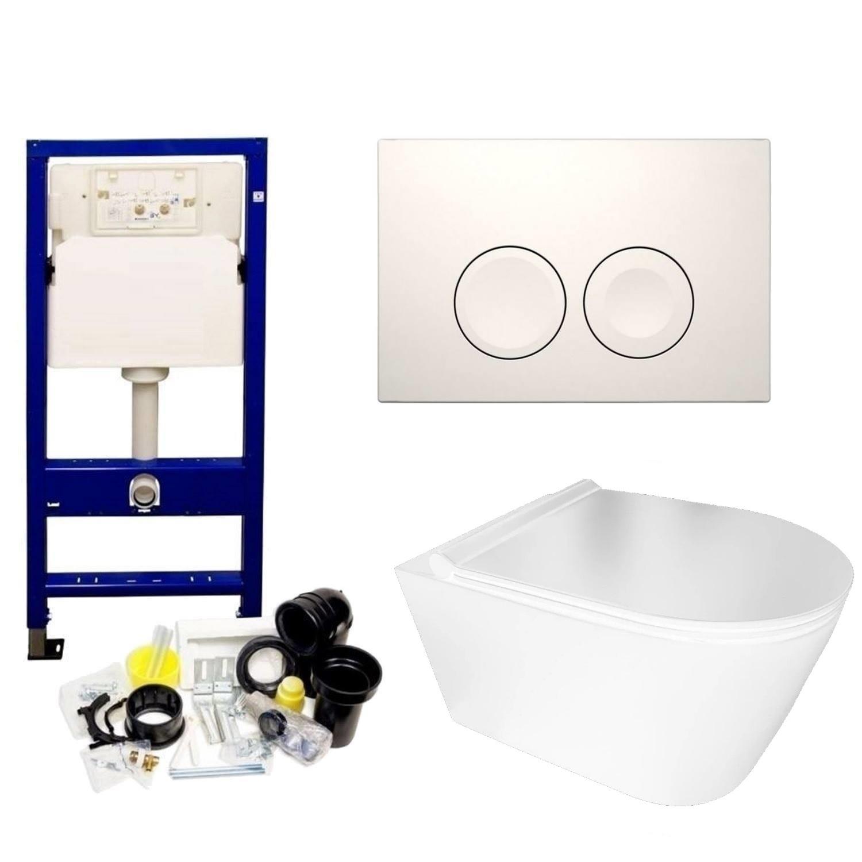 Geberit UP100 Toiletset Set50 BWS Plana Randloos Glans Wit Met Delta drukplaat voordeel