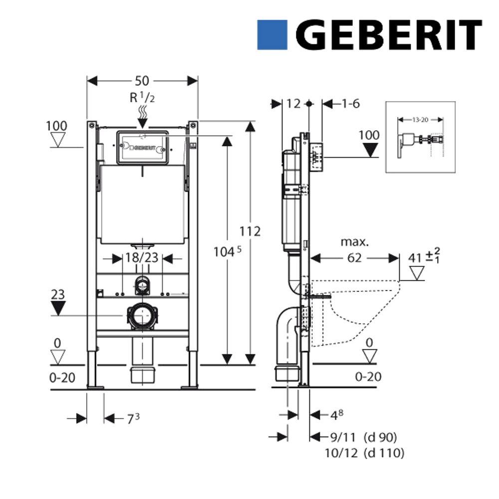 Populair Inbouwreservoir Geberit UP100 Basic Inbouw Frontbediening (in OZ56