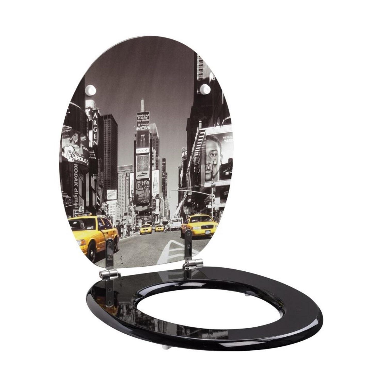 Toiletzitting Allibert Decor New York 37,3x5,6x44,8 cm MDF Inox Scharnieren