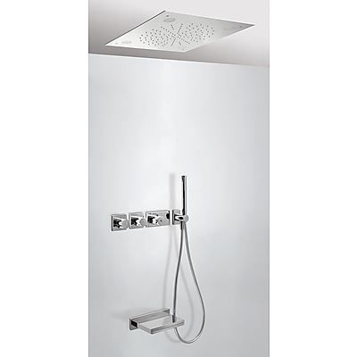 Kranen 13073 Tres Max inbouw badthermostaat combinatie met handdouche en waterval baduitloop chroom 20735307