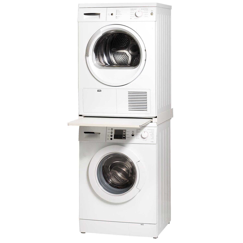 tussenstuk met lade tbv wasmachine droger aluminium rand. Black Bedroom Furniture Sets. Home Design Ideas