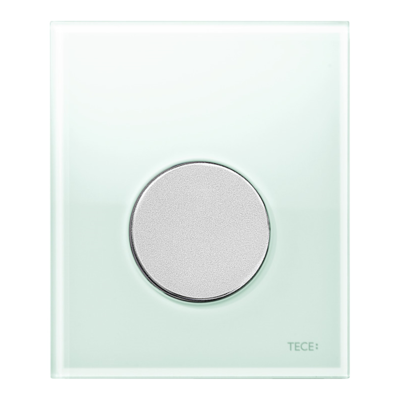 Productafbeelding van Urinoir Bedieningsplaat TECE Loop Glas Mintgroen 10,4x12,4 cm (met mat chromen toets)