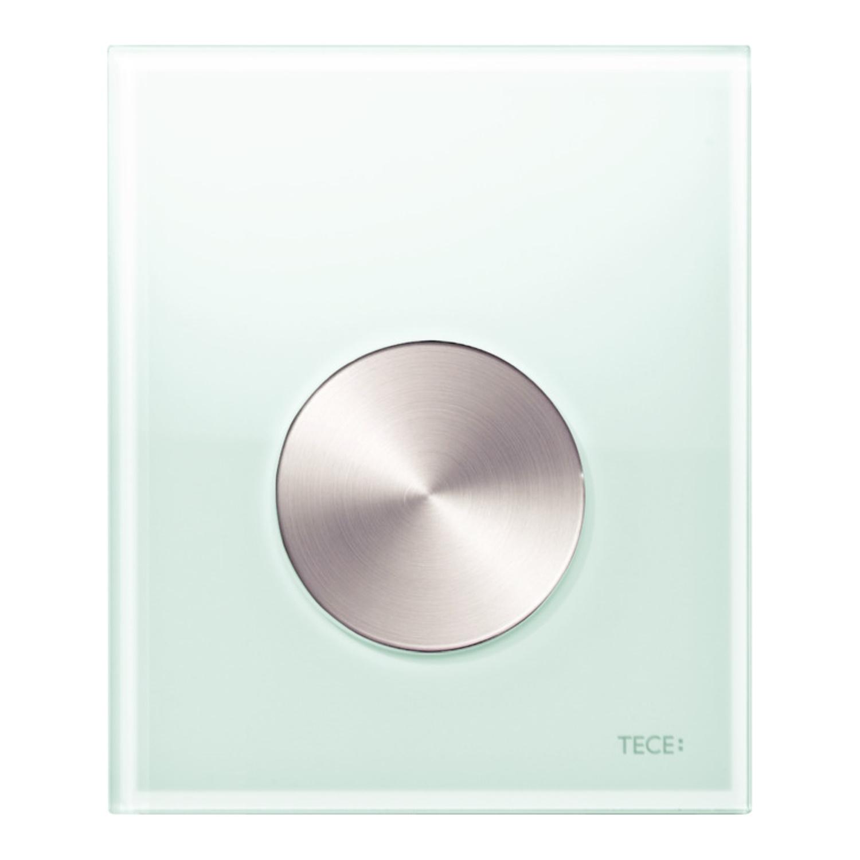 Productafbeelding van Urinoir Bedieningsplaat TECE Loop Glas Mintgroen 10,4x12,4 cm (met RVS geborstelde toets)