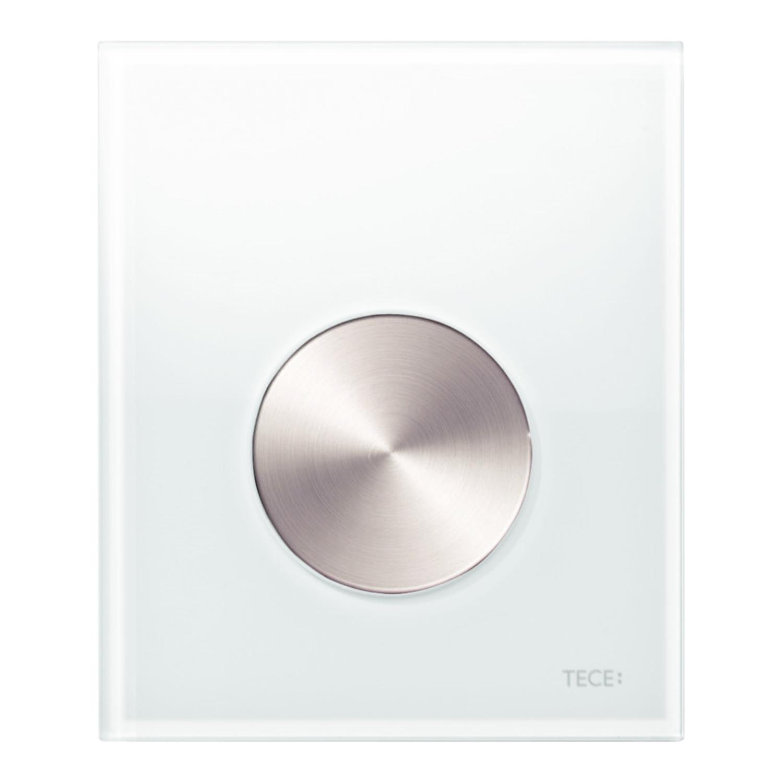 Urinoir Bedieningsplaat TECE Loop Glas Wit 10,4x12,4 cm (met RVS geborstelde toets) kopen - Tegel Depot sanitair met korting