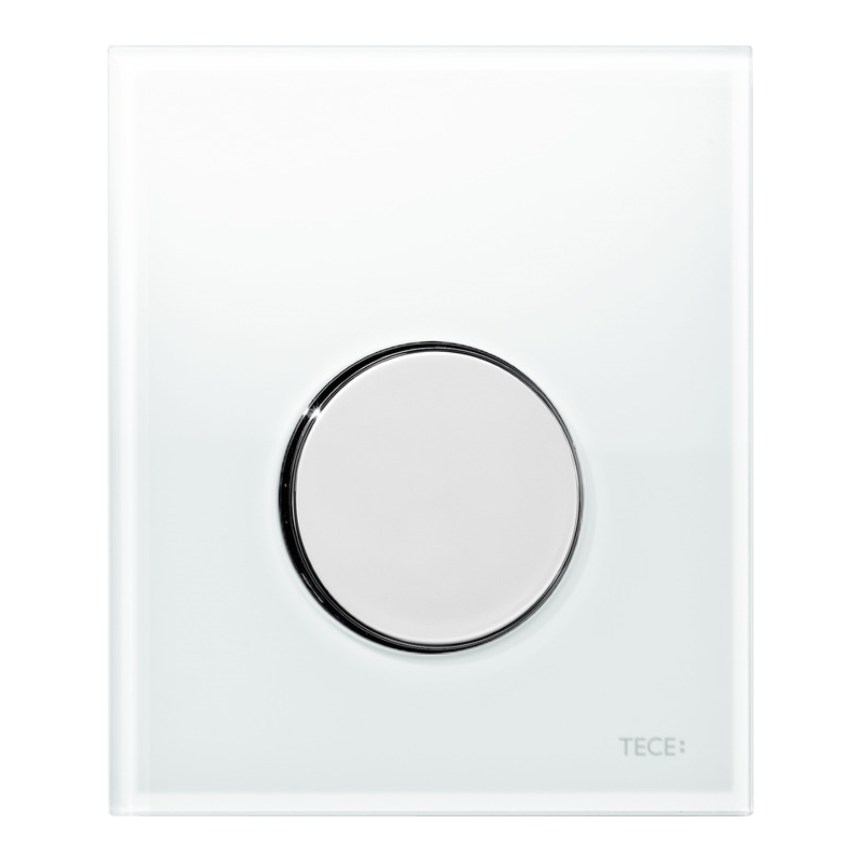 Urinoir Bedieningsplaat TECE Loop Glas Wit 10,4x12,4 cm (met glanzend chromen toets) kopen - Tegel Depot sanitair met korting