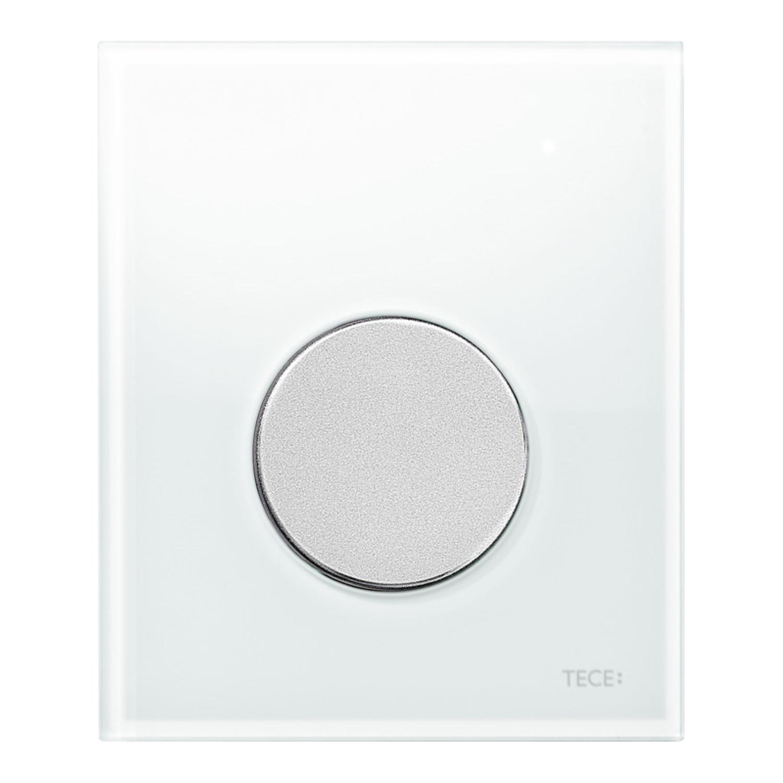 Urinoir Bedieningsplaat TECE Loop Glas Wit 10,4x12,4 cm (met mat chromen toets) kopen - Tegel Depot sanitair met korting