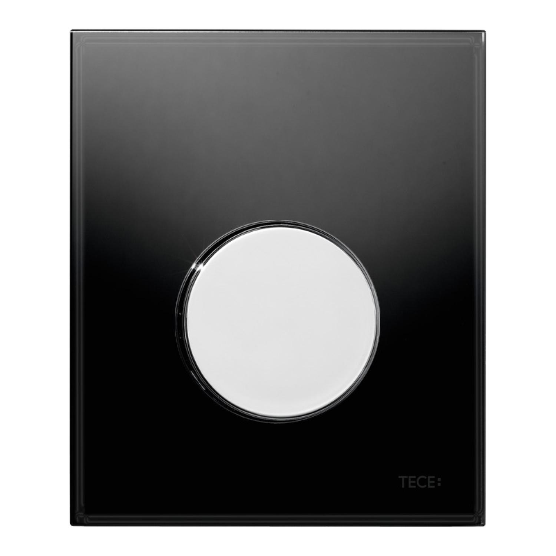 Urinoir Bedieningsplaat TECE Loop Glas Zwart 10,4x12,4 cm (met glanzend chromen toets) kopen - Tegel Depot sanitair met korting