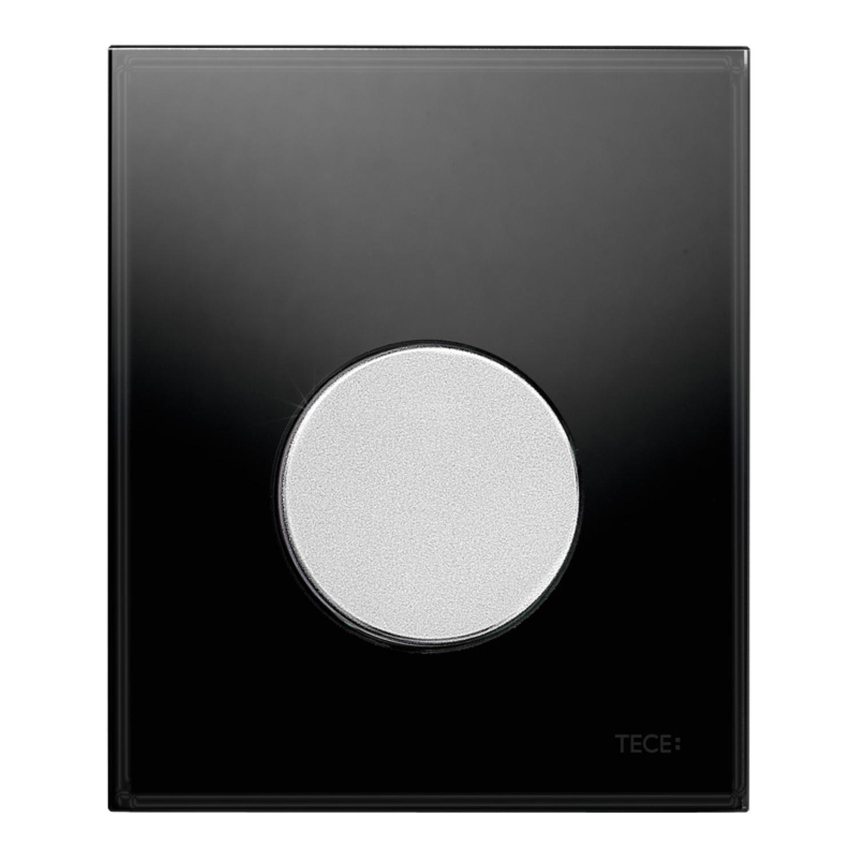 Urinoir Bedieningsplaat TECE Loop Glas Zwart 10,4x12,4 cm (met mat chromen toets) kopen - Tegel Depot sanitair met korting