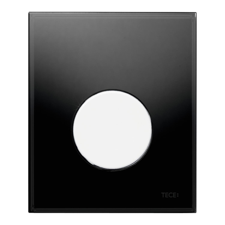 Productafbeelding van Urinoir Bedieningsplaat TECE Loop Glas Zwart 10,4x12,4 cm (met witte toets)