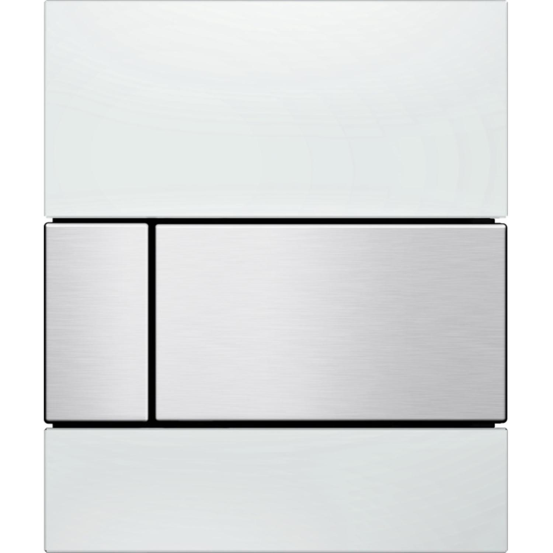Urinoir Bedieningsplaat TECE Square Glas Wit 10,4x12,4 cm (met RVS toetsen) kopen - Tegel Depot sanitair met korting