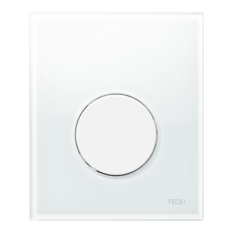 Urinoir Bedieningsplaat TECE Loop Glas Wit 10,4x12,4 cm (met witte toets) kopen - Tegel Depot sanitair met korting