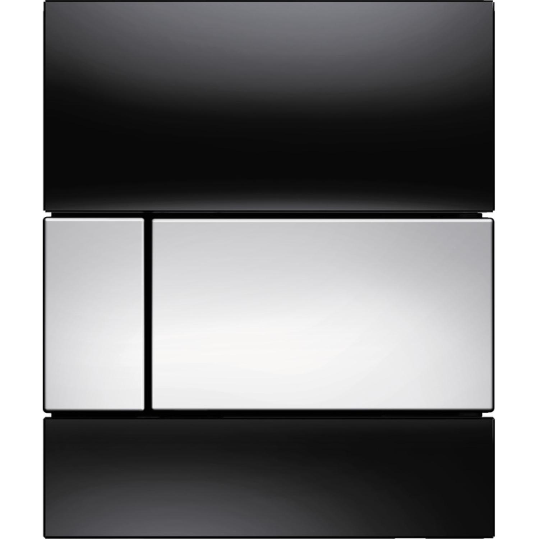 Urinoir Bedieningsplaat TECE Square Glas Zwart 10,4x12,4 cm (met glanzend chromen toetsen)