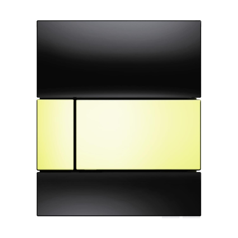 Urinoir Bedieningsplaat TECE Square Glas Zwart 10,4x12,4 cm (met gouden toetsen)