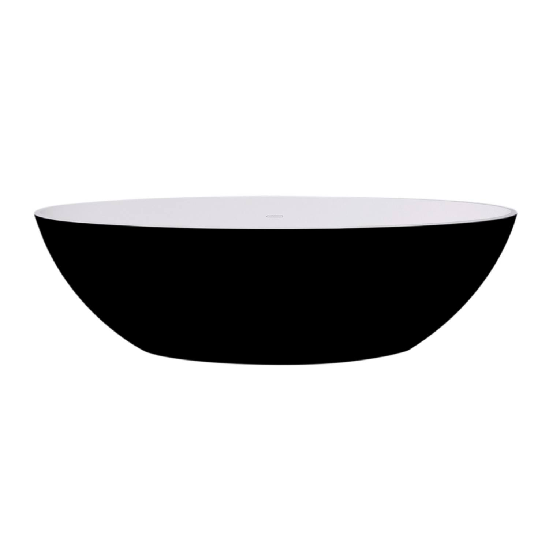 Badkamer Vrijstaand Bad Best Design Solid Surface 180 x 85 cm Bicolor Mat Zwart/Wit Ligbad
