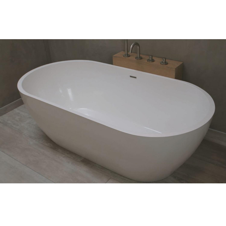 Badkamer Vrijstaand Bad Luca Sanitair Vasca 160x80x54cm Solid Surface Mat Wit Vrijstaand bad