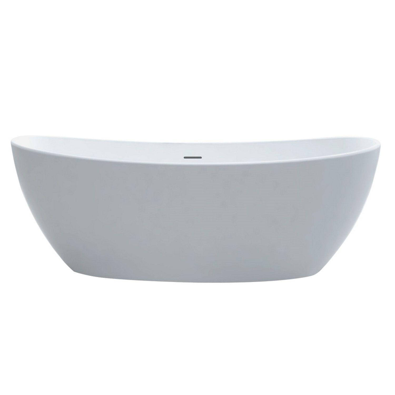 Badkamer Vrijstaand Bad Best Design Orto 180x85x64 cm Solid Surface Mat Wit Vrijstaand bad