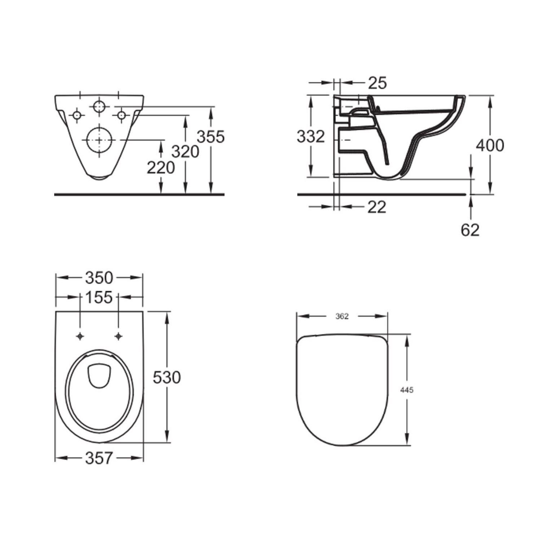 Geberit UP320 Toiletset set27 Geberit Sphinx 280 Randloos met Sigma drukplaat Toilet Toiletset