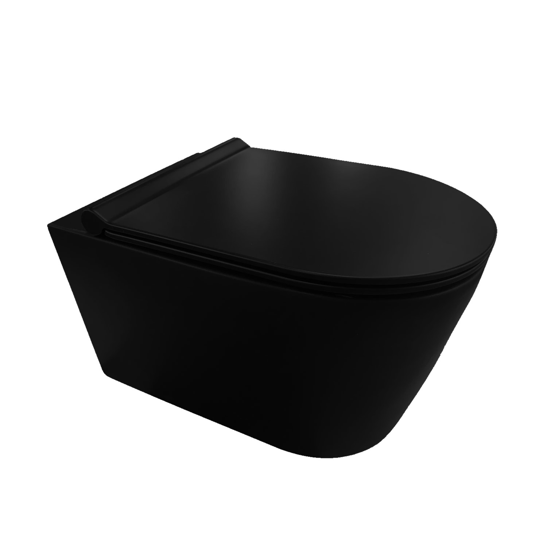 Wandcloset Civita Black 50.5x35x36.5cm Keramiek Rimless Mat Zwart (Incl. zitting)