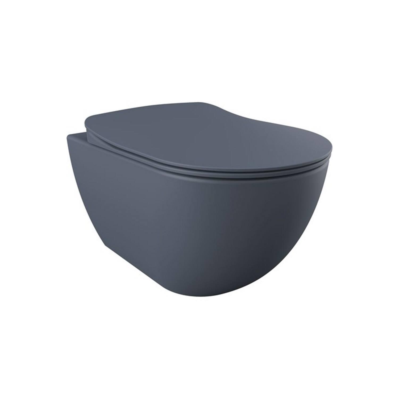 Wandcloset Creavit Freedom Randloos Mat Basalt Antraciet (Exclusief zitting) Toilet Hangtoilet