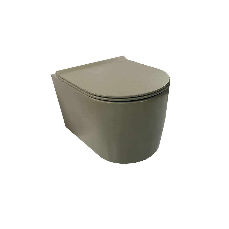 Wandcloset Salenzi Civita 50x35x36.5cm Keramiek Rimless Mat Legergroen (incl. zitting) Hangtoilet kopen met voordeel