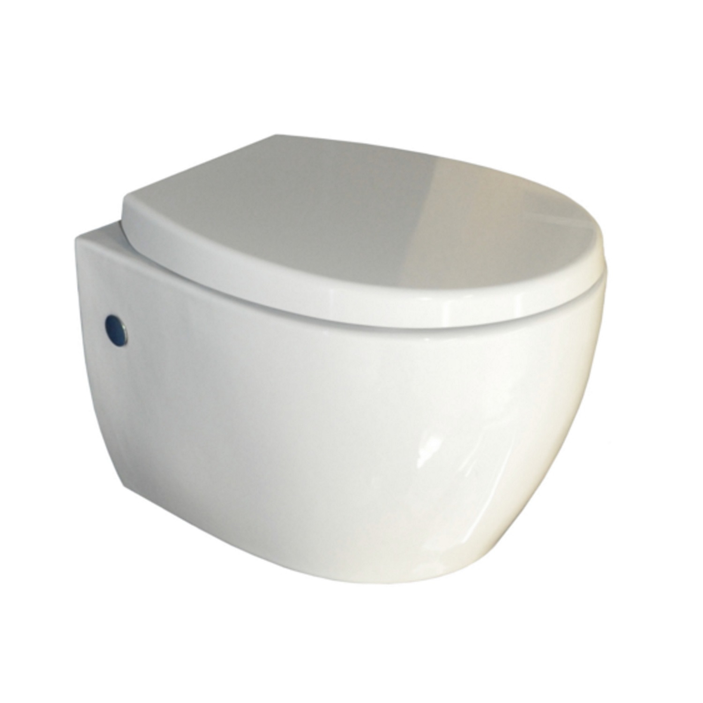 Wandcloset Sanicare SaniWell 50,5x36,3 cm met Soft-Close Toiletzitting Keramiek Wit kopen - Tegel Depot sanitair met korting