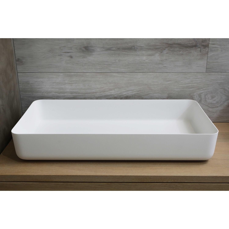 Waskom Opbouw Rechthoekig Luca Sanitair 80x40x13,5 cm Solid Surface Mat Wit