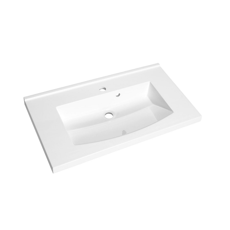 Wastafel Allibert Flex 80x46,2x4 cm met Kraangat Polybeton Glanzend Wit