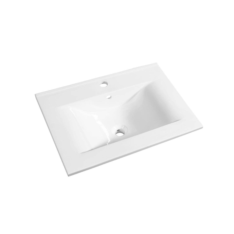 Sanitair tegel Allibert kopen? Wastafel Allibert Soft 60,5×46,5×1,7 cm met Kraangat en Overloop Porselein Glanzend Wit met voordeel razendsnel in huis bezorgd