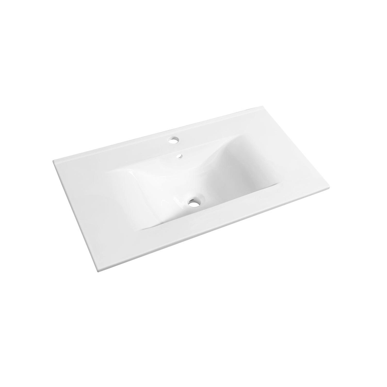 Wastafel Allibert Soft 80,5x46,5x1,7 cm met Kraangat en Overloop Porselein Glanzend Wit