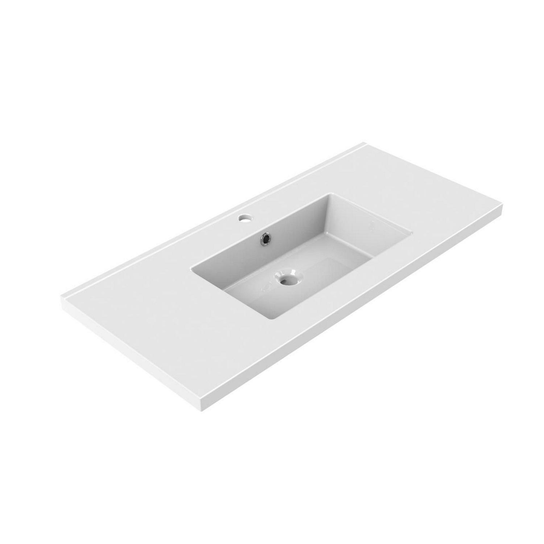 Sanitair tegel Allibert kopen? Wastafel Inbouw Allibert Tobi 100,5×46,2×3,5 cm met Kraangat en Overloop Porselein Glanzend Wit met voordeel razendsnel in huis bezorgd