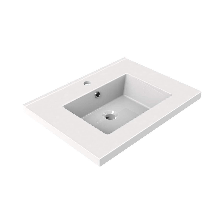 Sanitair tegel Allibert kopen? Wastafel Inbouw Allibert Tobi 60,5×46,2×3,5 cm met Kraangat en Overloop Porselein Glanzend Wit met voordeel razendsnel in huis bezorgd