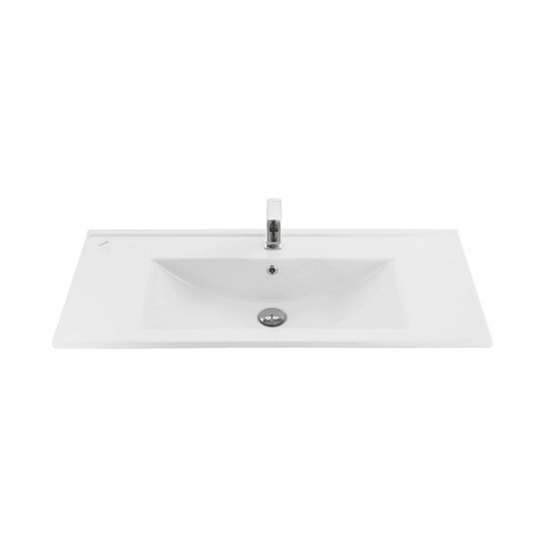 Wastafel Boss & Wessing 1 Kraangat 45x100 cm Rechthoek Keramiek Wit voordeel