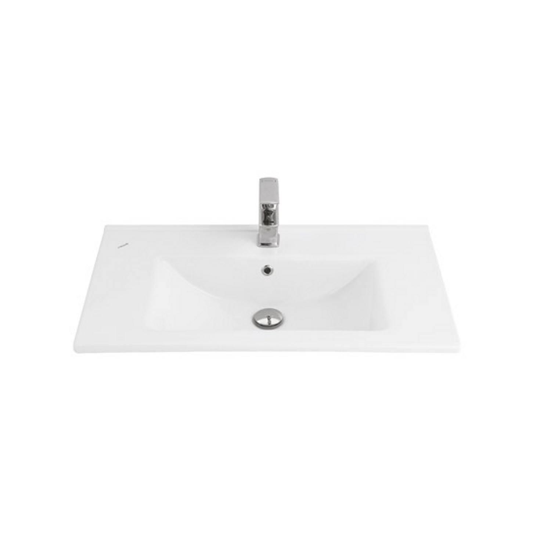 Wastafel Boss & Wessing 1 Kraangat 45x80 cm Rechthoek Keramiek Wit voordeel