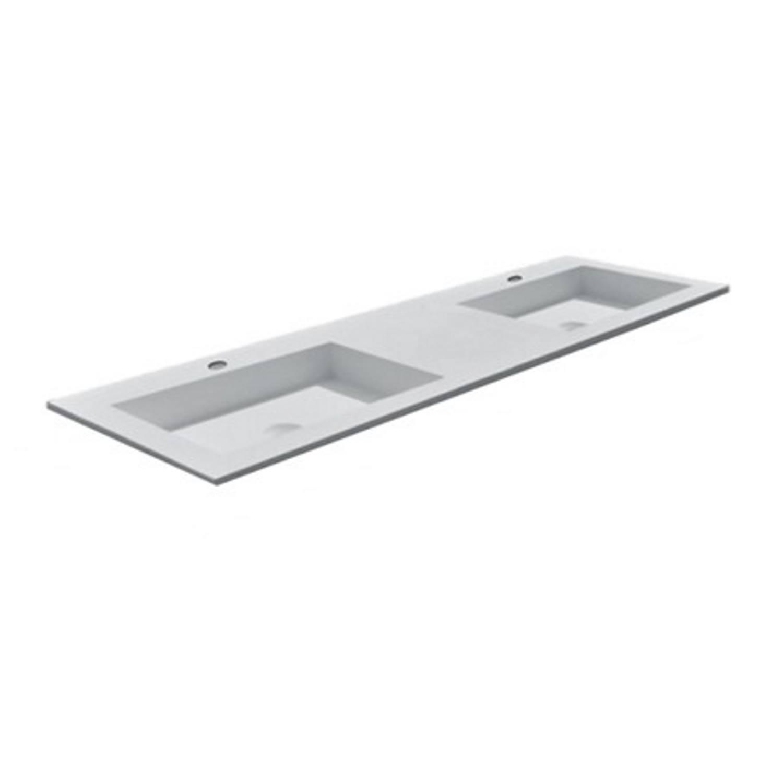 Wastafel Boss & Wessing 2 Kraangaten 45.5x154 cm Solid Surface Wit