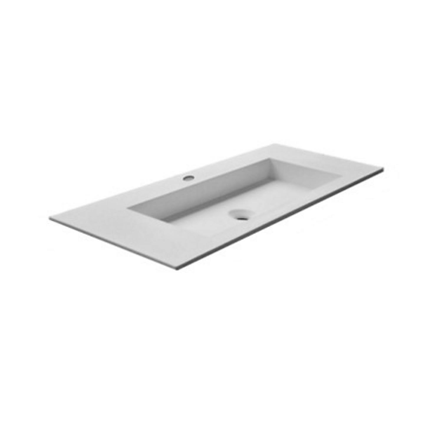 Wastafel Boss & Wessing 1 Kraangat 45.5x99 cm Solid Surface Wit