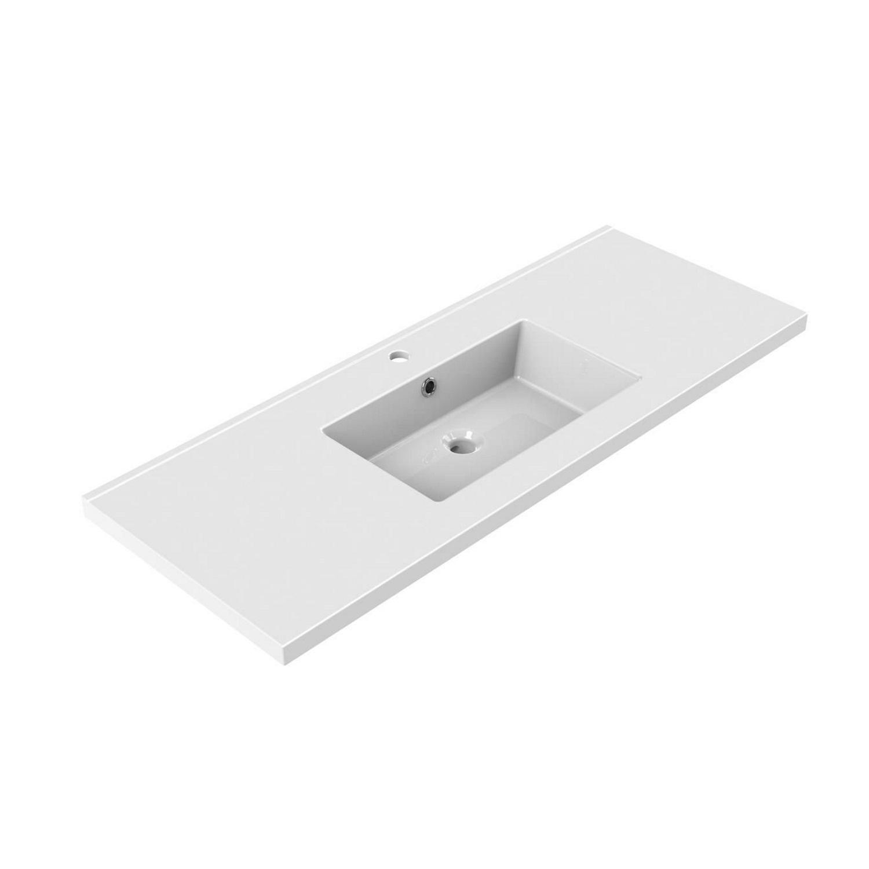 Sanitair tegel Tegeldepot kopen? Wastafel Inbouw Allibert Tobi 120,5×46,2×3,5 cm met Kraangat en Overloop Porselein Glanzend Wit met voordeel razendsnel in huis bezorgd