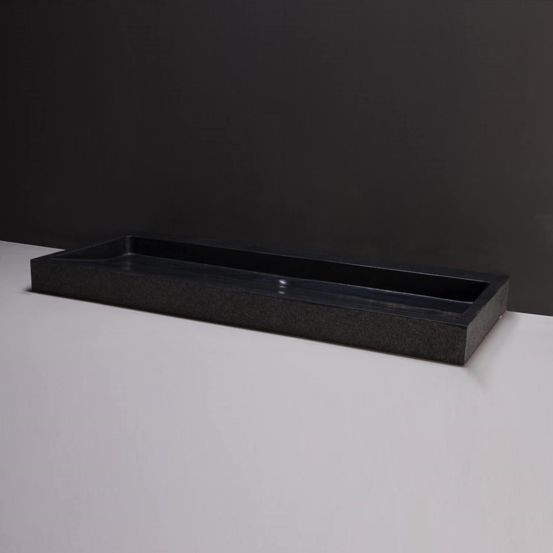 Productafbeelding van Wastafel Forzalaqua Palermo Graniet Gezoet Gebrand 2 Kraangaten Zwart 100,5x51,5x9 cm
