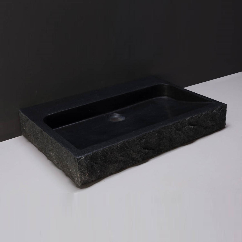 Productafbeelding van Wastafel Forzalaqua Palermo Graniet Gezoet Gekapt Met Kraangat Zwart 60x40x9 cm