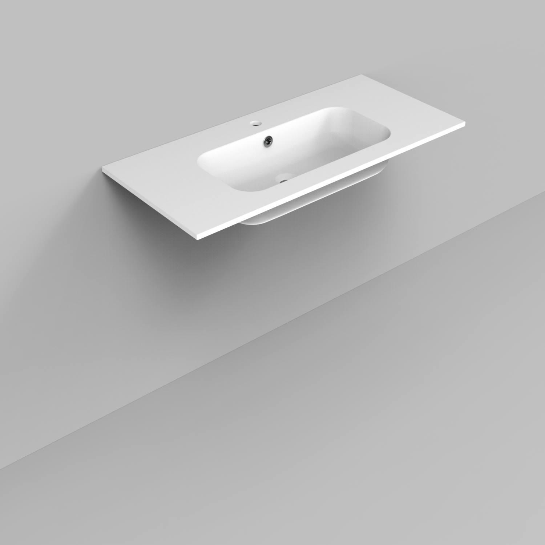 Badkamermeubels Wastafelmeubels kopen? Badkamermeubelset Industrieel BWS Frame Hangend 100 Mat Zwart Aluminium (1 kraangat) met korting