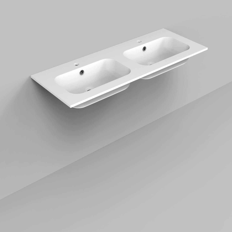 Badkamermeubelset Industrieel BWS Frame Hangend 120 Mat Zwart Aluminium (2 kraangaten)