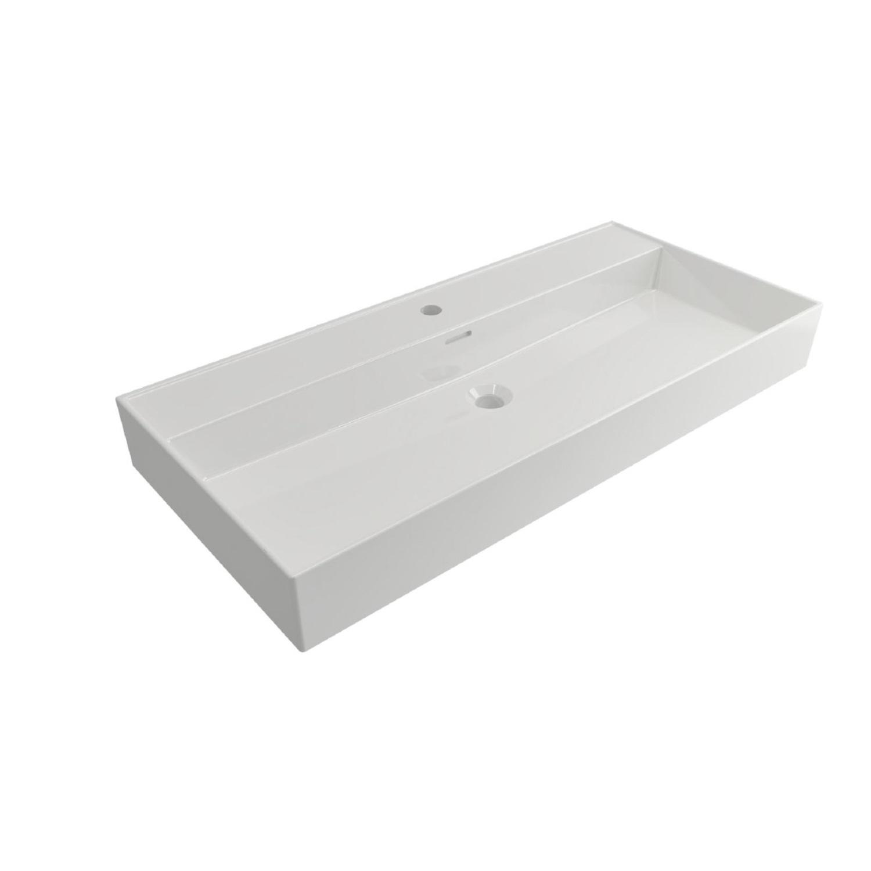 Wastafels Keramische Wastafel kopen? Wastafel Salenzi Cloud 1 Kraangat 100x46,6 cm met Overloop Wit met korting