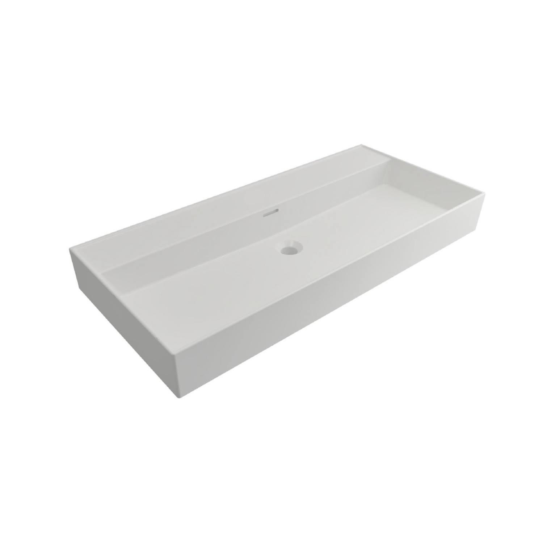 Wastafels Keramische Wastafel kopen? Wastafel Salenzi Cloud Zonder Kraangat 100x46,6 cm met Overloop Mat Wit met korting