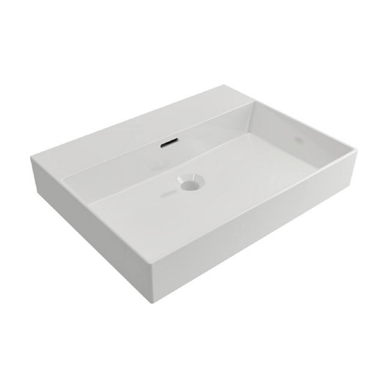 Wastafels Keramische Wastafel kopen? Wastafel Salenzi Cloud Zonder Kraangat 60x45 cm met Overloop Mat Wit met korting