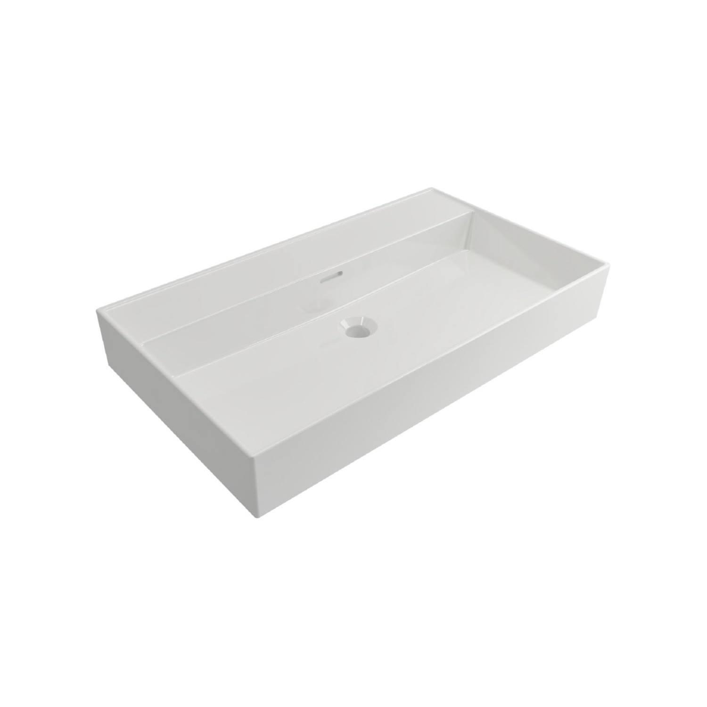 Wastafels Keramische Wastafel kopen? Wastafel Salenzi Cloud Zonder Kraangat 80x46,6 cm met Overloop Mat Wit met korting