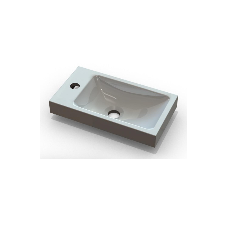 Wastafels 60749 Wastafel Sanicare Q40 40×22 cm Mineraalmarmer Wit