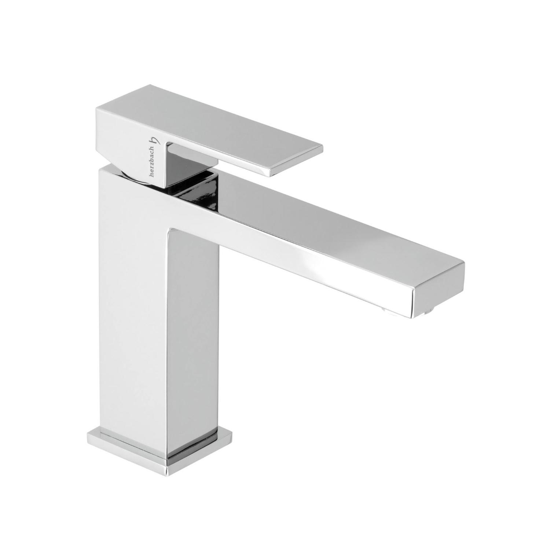 Wastafelkraan Herzbach Neo Castell Vierkant Design 5/4'' Clickwaste Chroom kopen met korting doe je hier