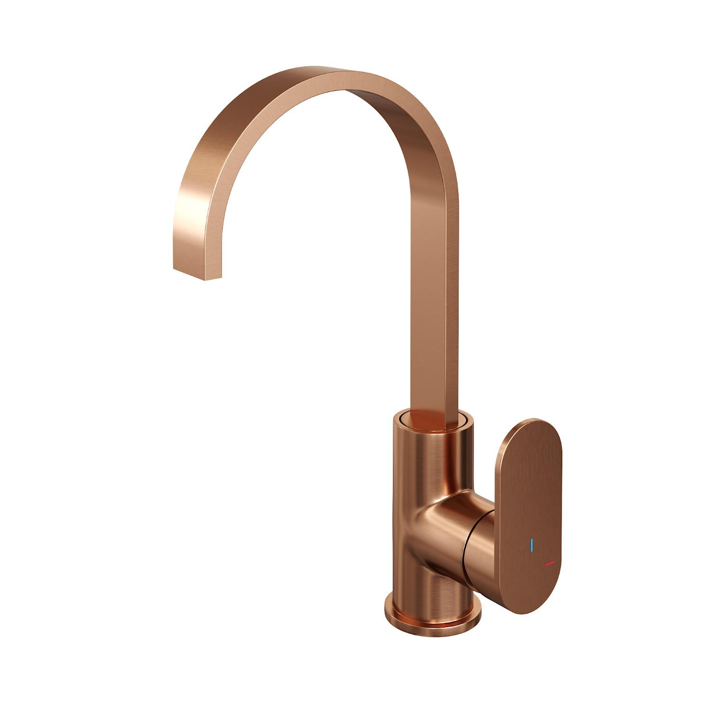 Productafbeelding van Brauer Copper Edition wastafelmengkraan hoog draaibare uitloop energy-saving rechte uitloop handgreep 1 Koper Geborsteld PVD
